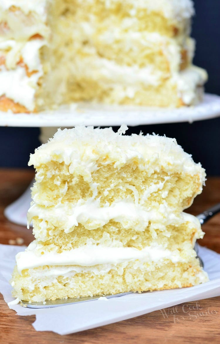 White Chocolate Coconut Cake | from willcookforsmiles.com