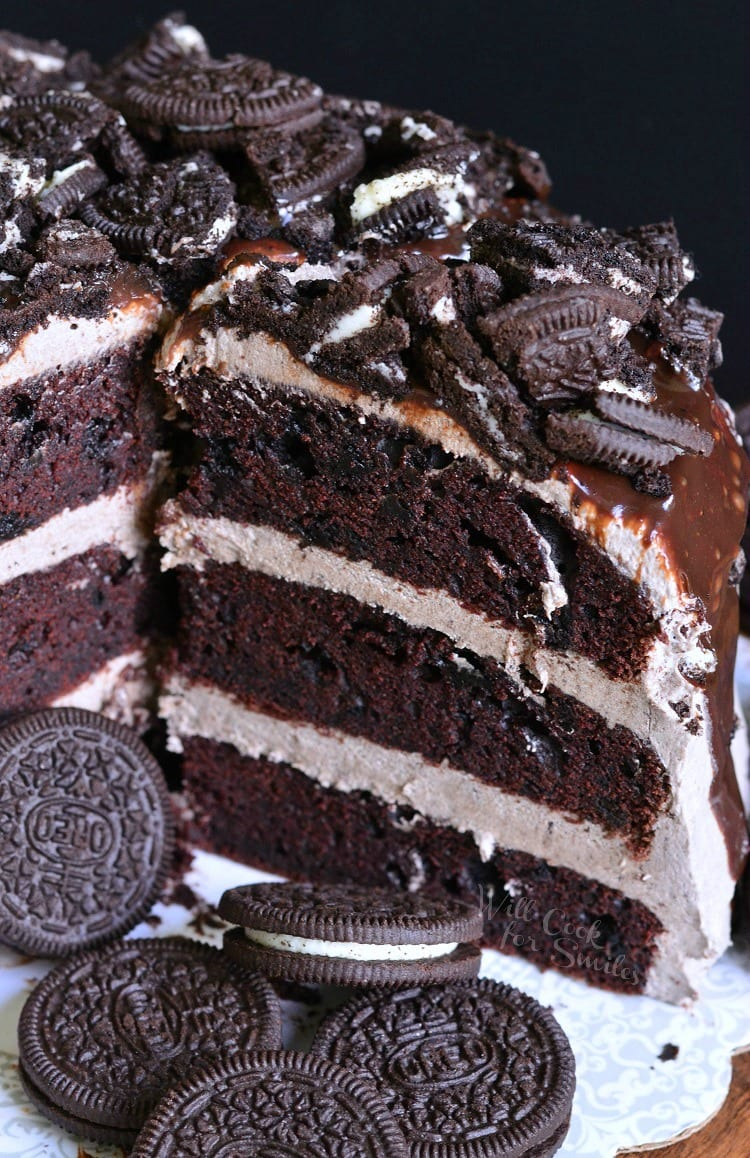 Chocolate Oreo Cake. An unbelievable, absolutely HEAVENLY cake baked with Oreo cookies and then filled and frosted with smooth Oreo Cookie Cream Cheese Frosting.