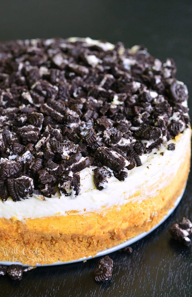 Layered Oreo Pumpkin Cheesecake