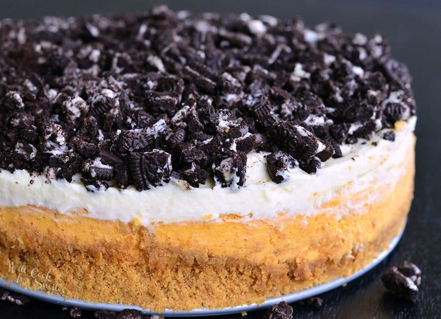 Layered Oreo Pumpkin Cheesecake horizonal picture