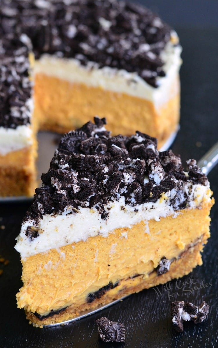 Layered Oreo Pumpkin Cheesecake | from willcookforsmiles.com