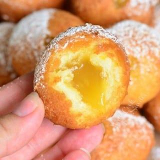 Lemon Curd Filled Doughnut Holes