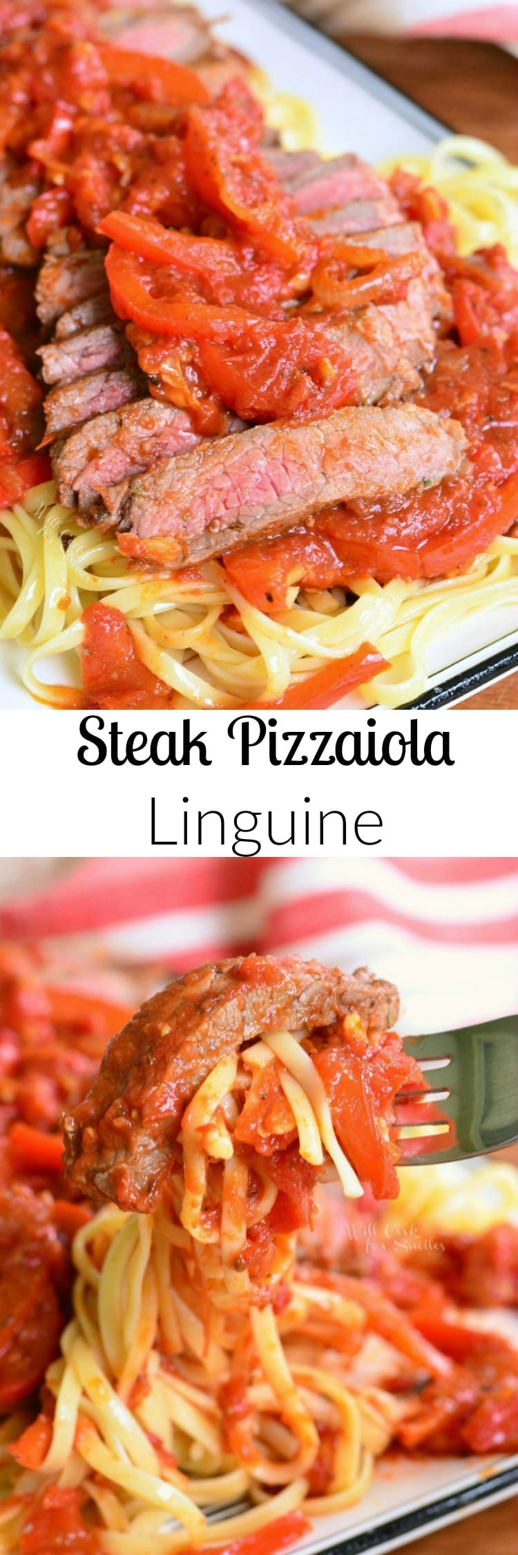 Steak Pizzaiola Linguine. Delicious Italian dish made with seared tender sirloin steak, easy pizzaiola sauce (tomato sauce), and served over linguine collage