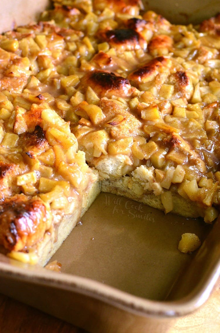 Apple Pie Bread Pudding in a brown baking dish