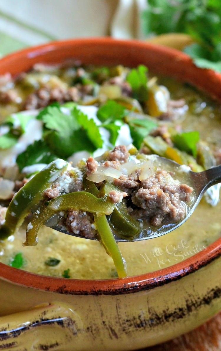 Beef and Poblano Enchilada Soup.
