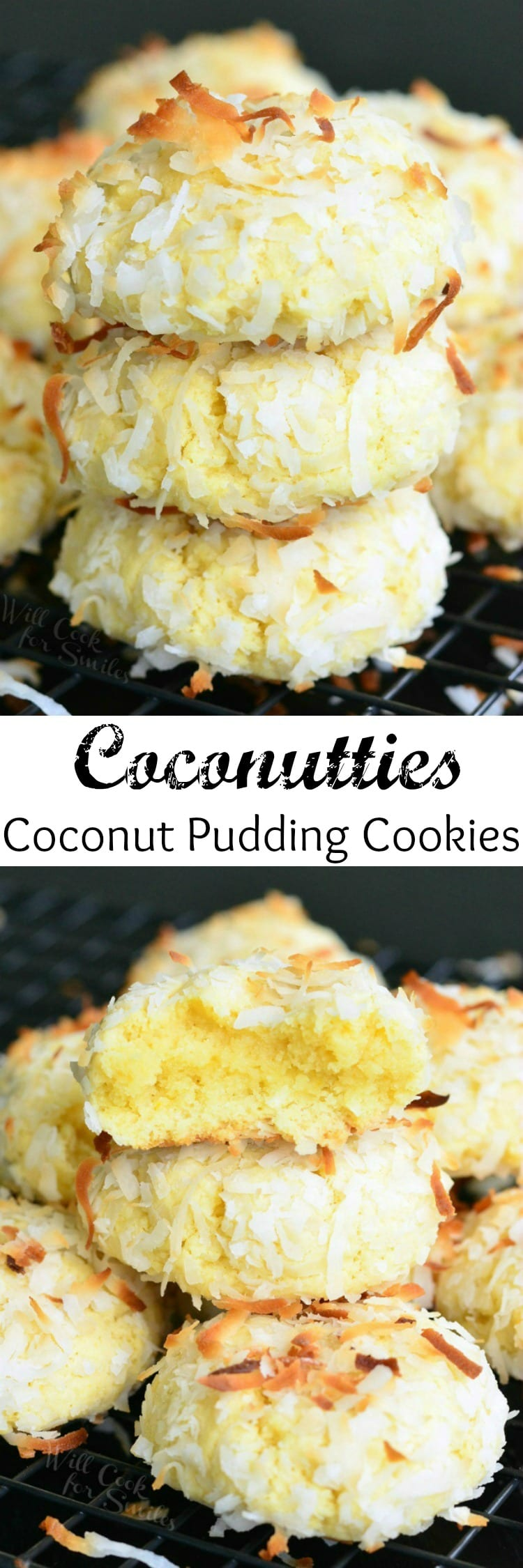 Coconutties - Coconut Pudding Cookies. It's hard to keep your hands away from the cookie jar when it's filled with these Coconutties.