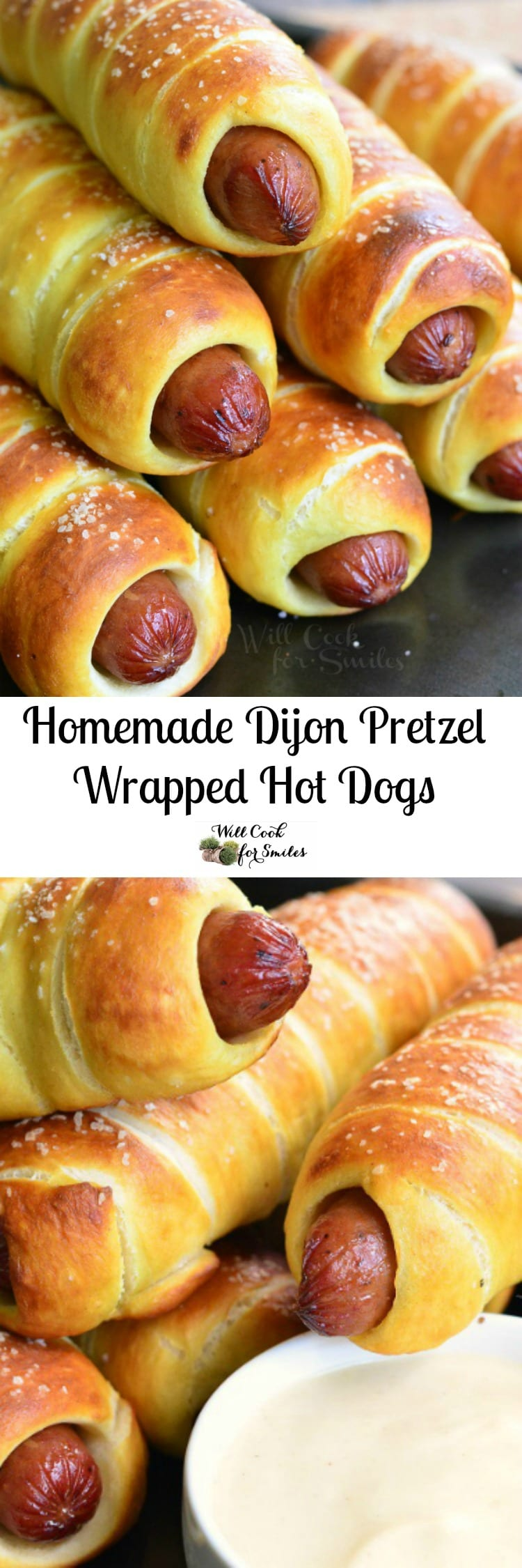 Homemade Dijon Pretzel Wrapped Hot Dogs with Maple Dijon Dipping Sauce! The BEST hot dogs in the world are the hot dogs that have been wrapped with soft, homemade Dijon pretzel
