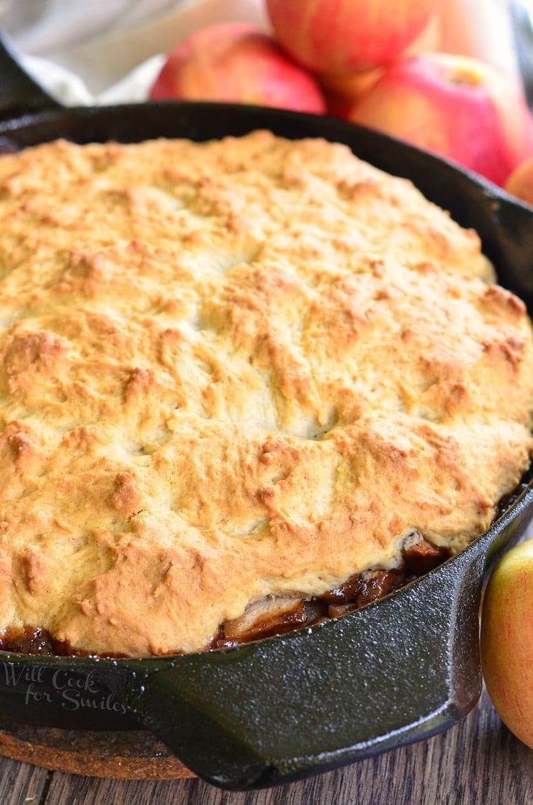Maple Pecan Apple Cobbler Skillet in a cast iron pan