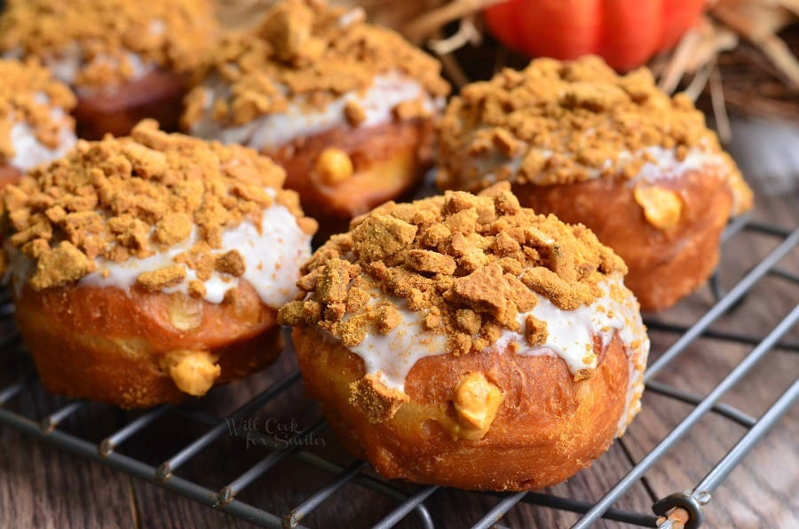 Pumpkin Cheesecake Doughnuts with Gingersnap Crumb 3