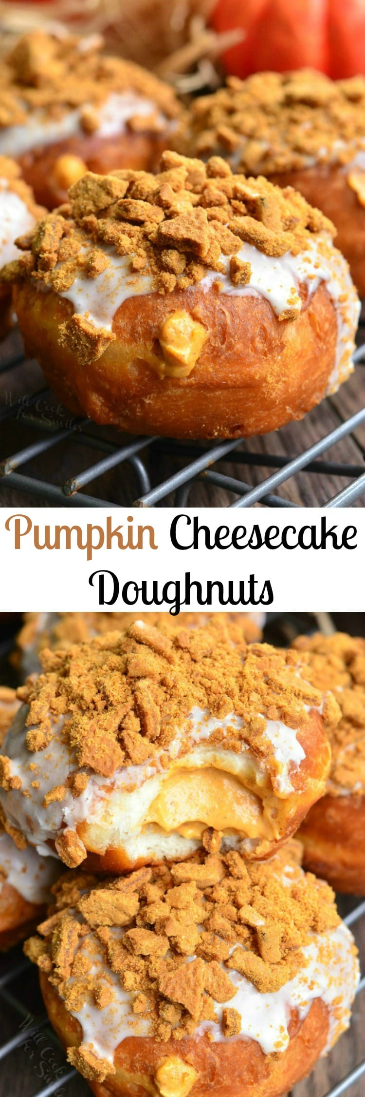 Pumpkin Cheesecake Doughnuts with Gingersnap Crumb. Easy stuffed doughnuts filled with pumpkin cheesecake mixture and topped with pumpkin spice icing and crispy gingersnap cookies.