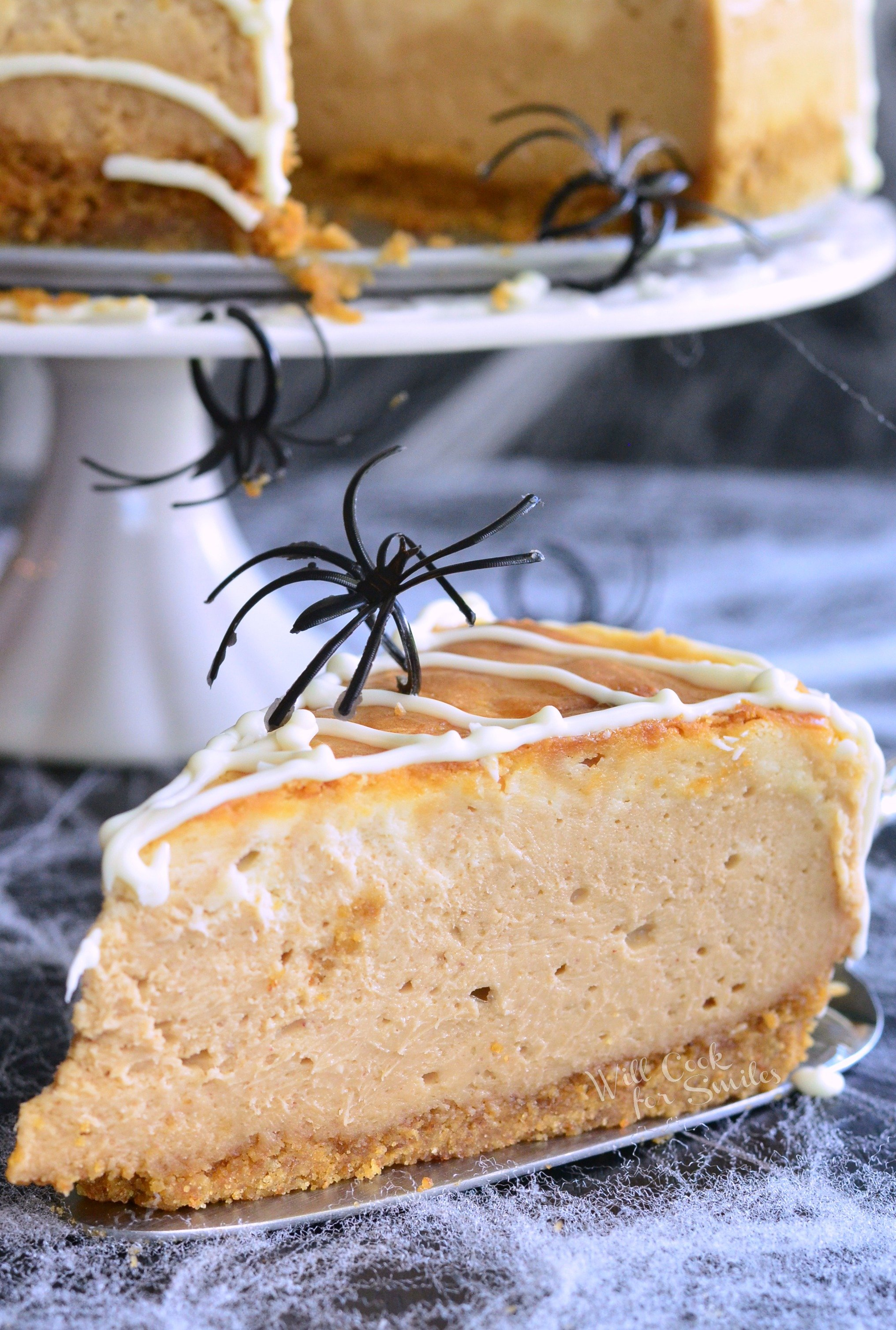 Spider Web Cheesecake (White Chocolate Peanut Butter Cheesecake)