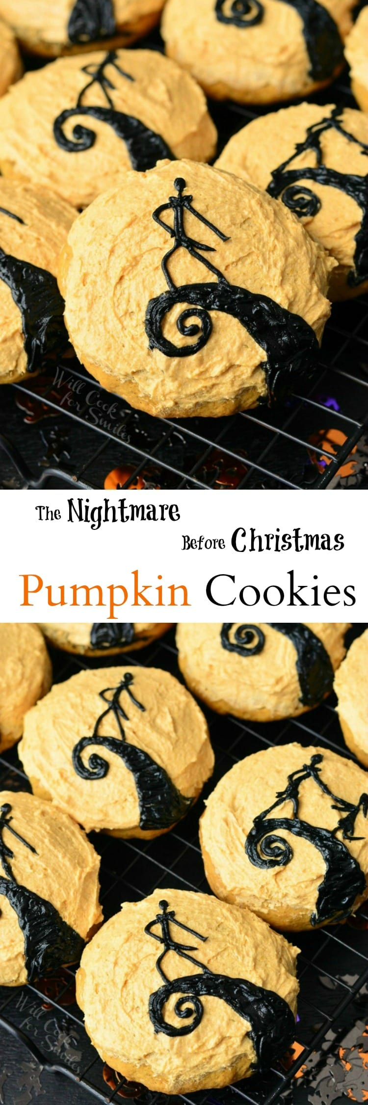 The Nightmare Before Christmas Pumpkin Cookies. FUN cookies to serve for Halloween parties to all that LOVE The Nightmare Before Christmas.