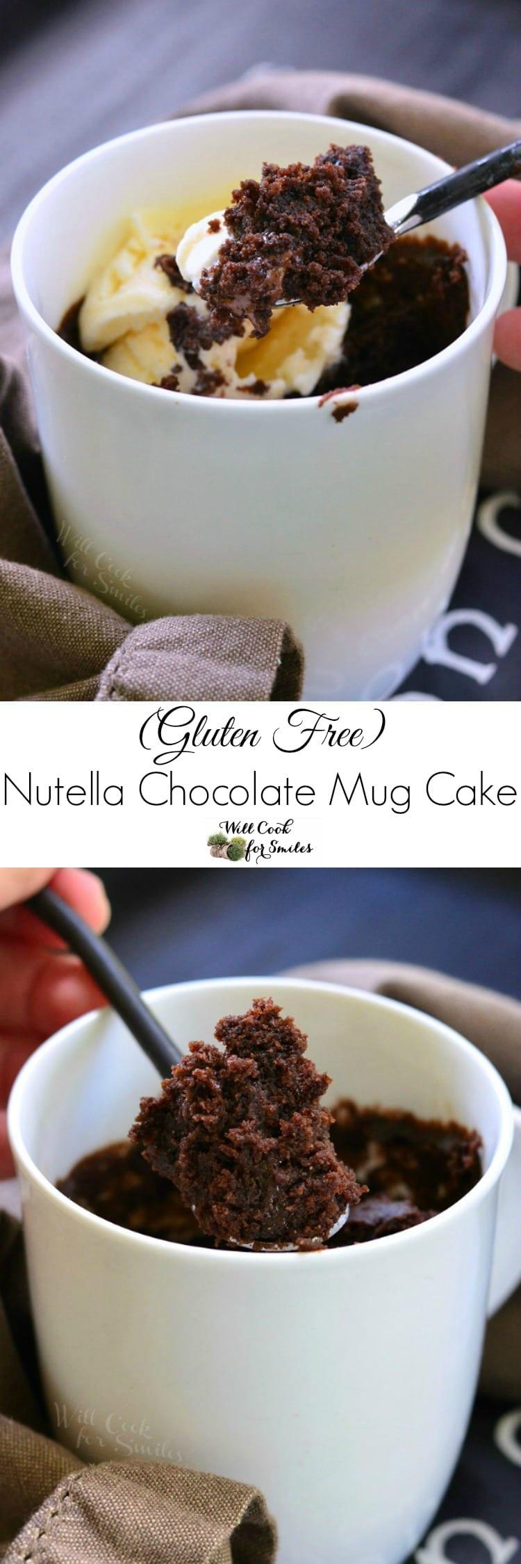 GF Nutella Chocolate Mug Cake (Gluten Free Mug Cake). Individual chocolate cake made in just 5 minutes!