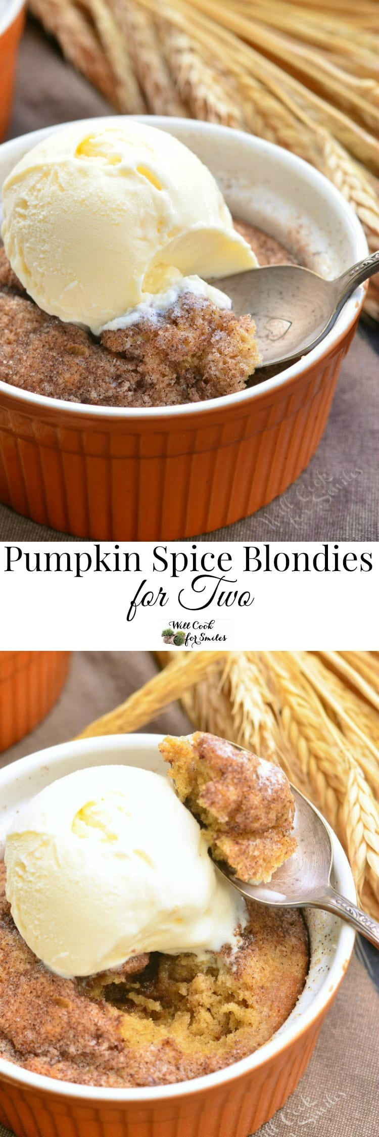 Pumpkin Pie Spice Blondies For Two. Divine pumpkin spice, buttery blondies made in a small batch, in just few minutes.