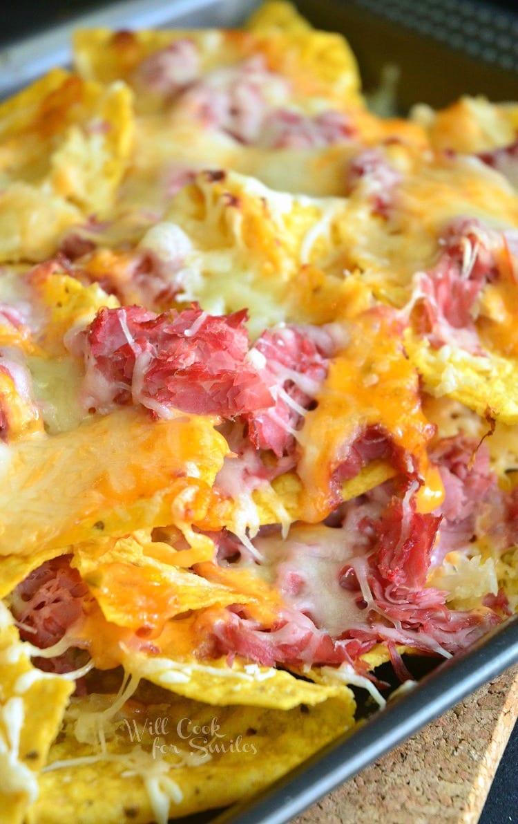 Reuben Nachos. Awesome nachos made to taste just like the Reuben sandwich. Cheesy, crunchy, fantastic...