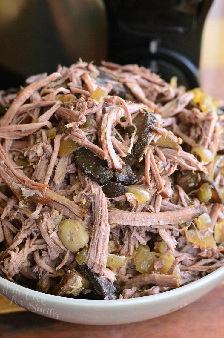Slow Cooker Mushroom and Onion Italian Beef. from willcookforsmiles.com
