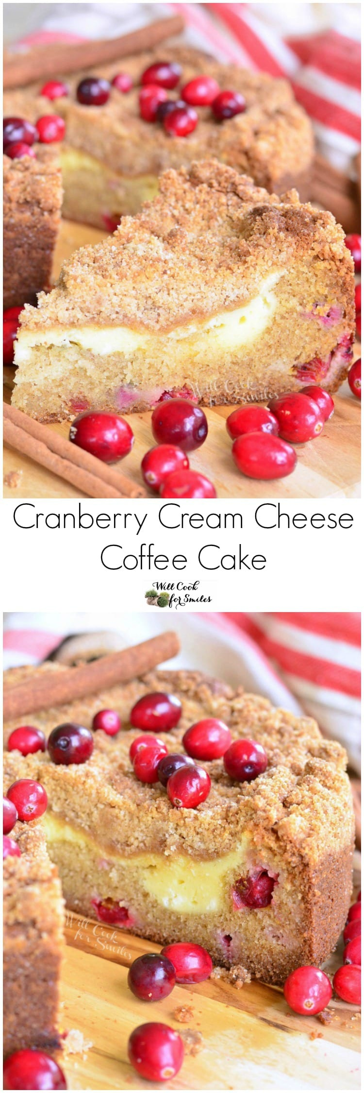 Collage top photo A slice of Cranberry Cream Cheese Coffee Cake on a cutting board with the rest of the cake in the background bottom photo of cake with slice missing