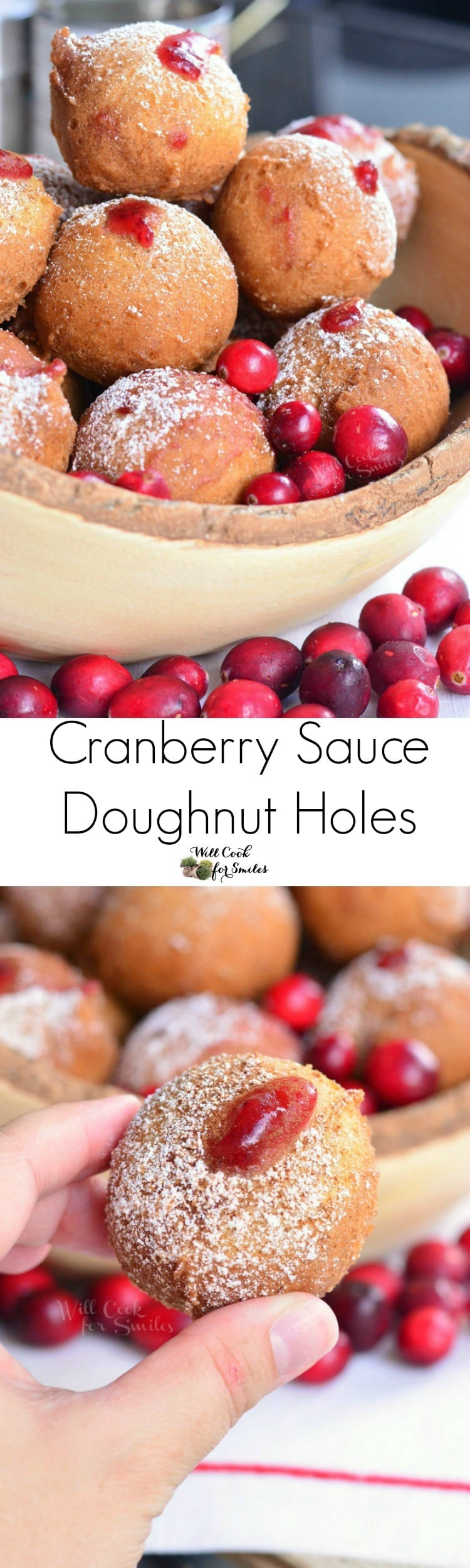 Cranberry Sauce Doughnut Holes. These little cranberry sauce filled doughnut holes make a delicious and easy breakfast treat.