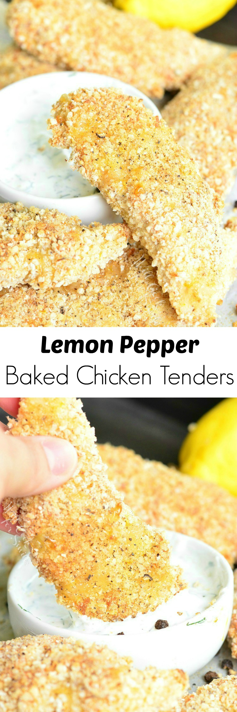 Lemon Pepper Baked Chicken Tenders. (A Gluten Free Recipe.) Juicy, crispy chicken tenders baked in the oven with gluten free bread crumbs and lemon pepper seasoning.