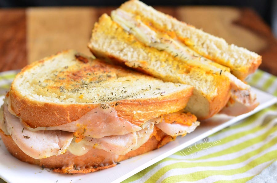 Pumpkin Turkey and Herb Grilled Cheese on a plate