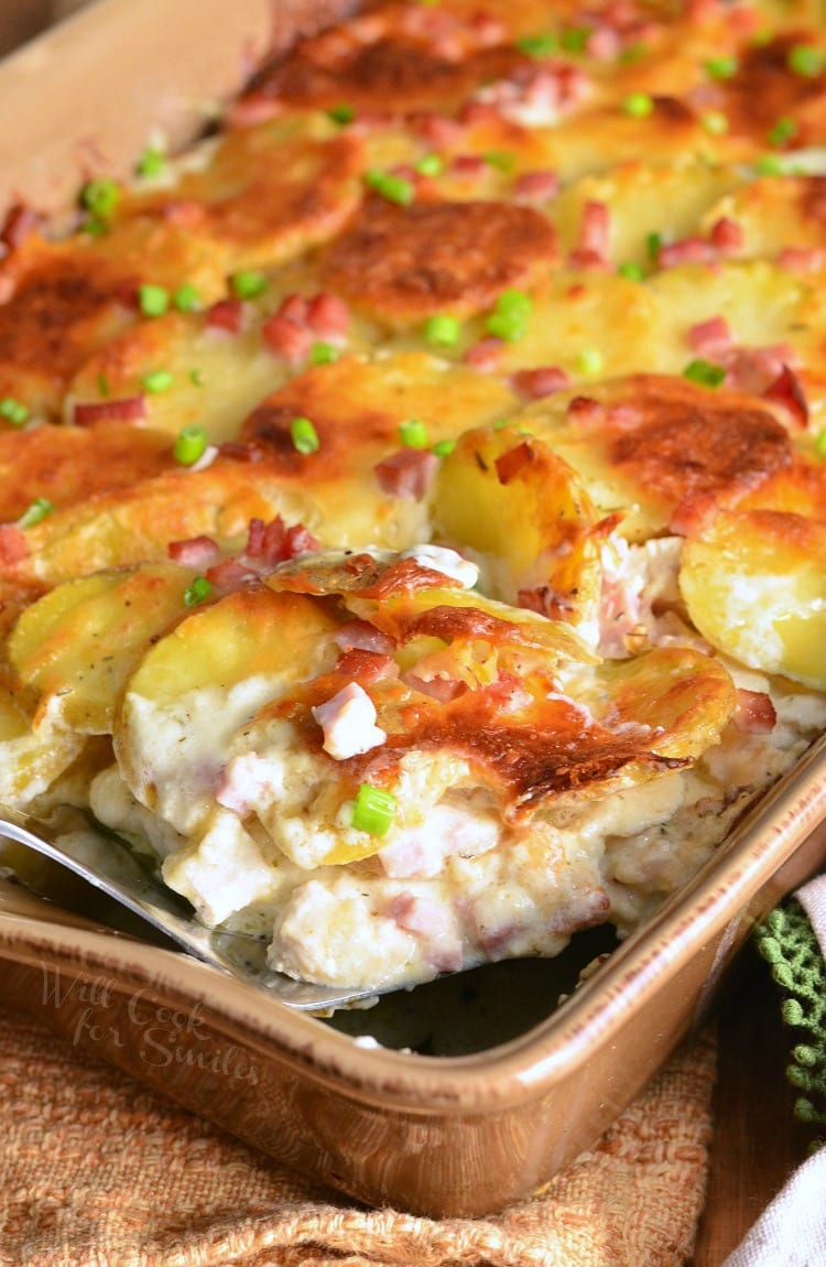 Chicken Cordon Bleu Scalloped Potatoes Recipe. from willcookforsmiles.com