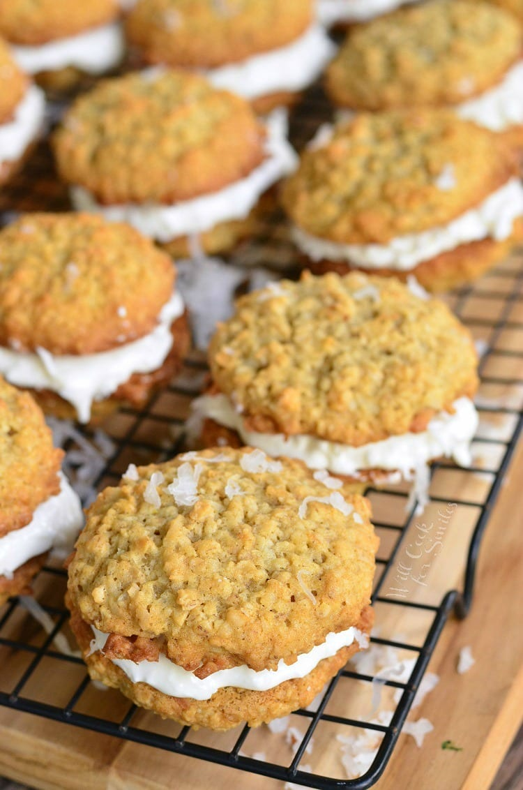 Coconut Oatmeal Cookie Sandwiches on a cooling rack