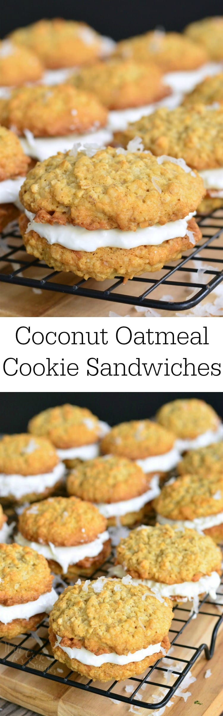 photo collage top phot of close up of Coconut Oatmeal Cookie Sandwich on a cooling rack bottom photo of all the cookie sandwiches on a cooling rack