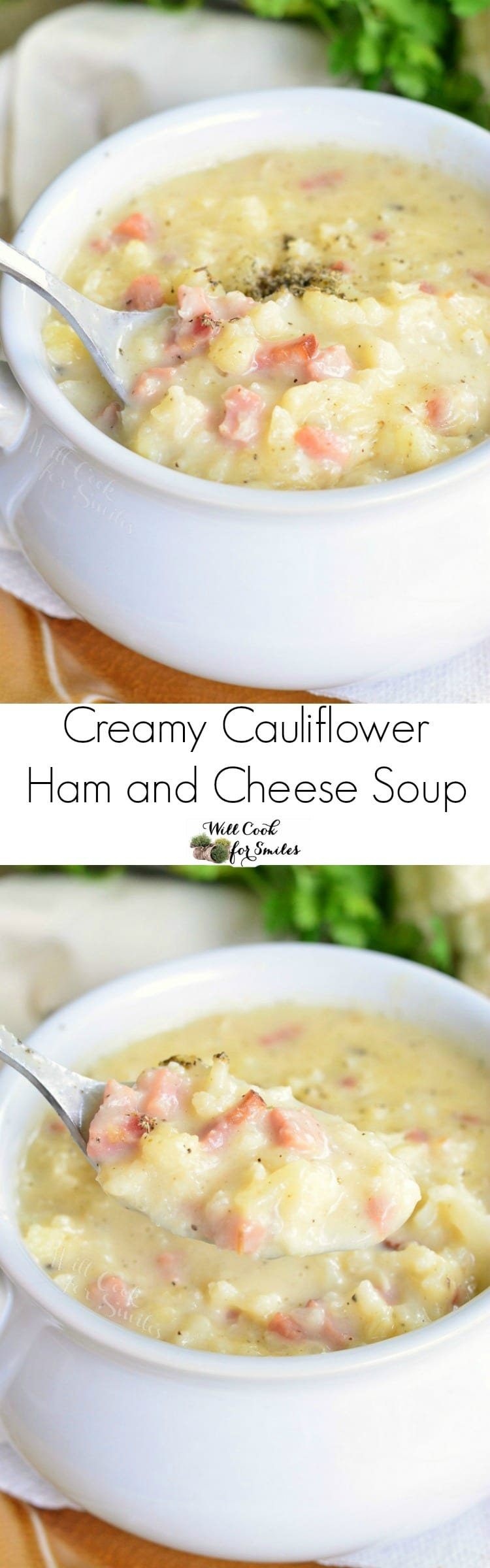 Creamy Cauliflower Ham and Cheese Soup. This soup recipe is made with cauliflower, ham, and white cheddar cheese, this soup is hearty enough without having any pasta or potatoes packed in it. #cauliflower #soup #hamsoup #ham