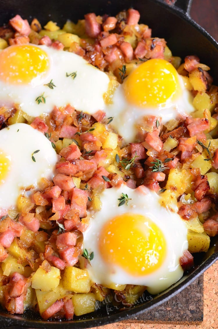 Honey Mustard Ham Egg and Potato Bake. This potato bake is a great way to use up some holiday ham and serve a delicious brunch to the family at the same time.