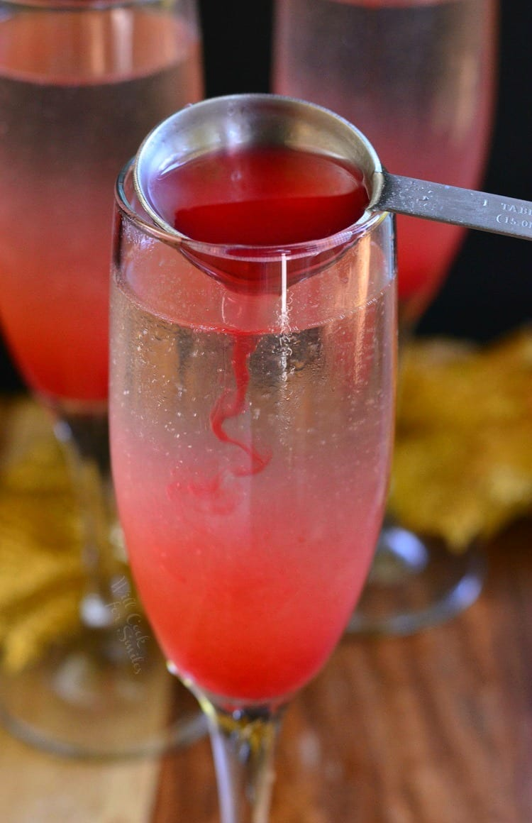 Raspberry Italian Soda Champagne Cocktail. from willcookforsmiles.com