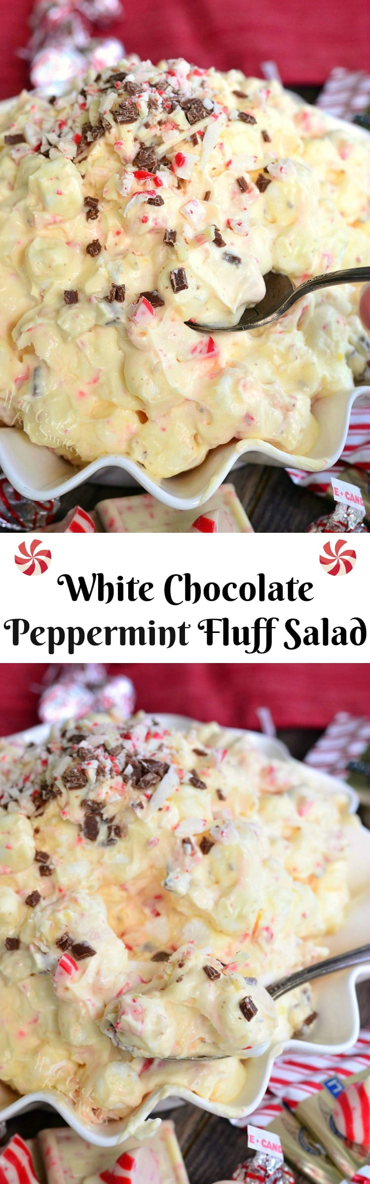 White Chocolate Peppermint Fluff Salad with a spoon in a white bowl collage