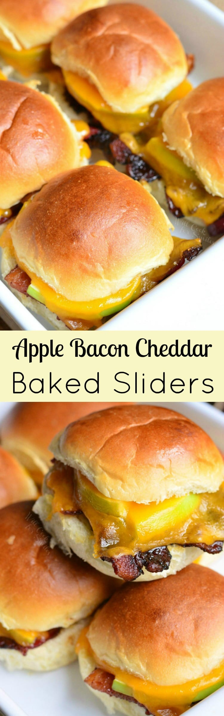 collage of top view Apple Bacon Cheddar Baked Sliders bottom is sliders stacked on a baking dish