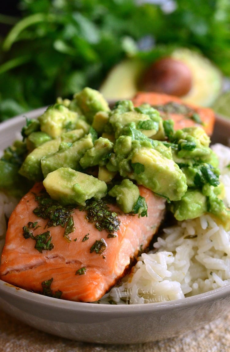 Avocado Salmon Rice Bowl From Willcookforsmiles