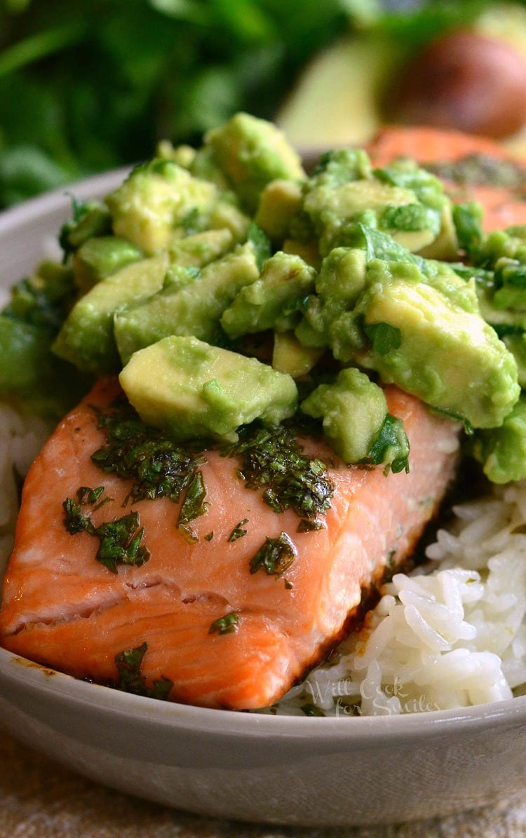 Close up of Avocado Salmon Rice Bowl that is in a bowl