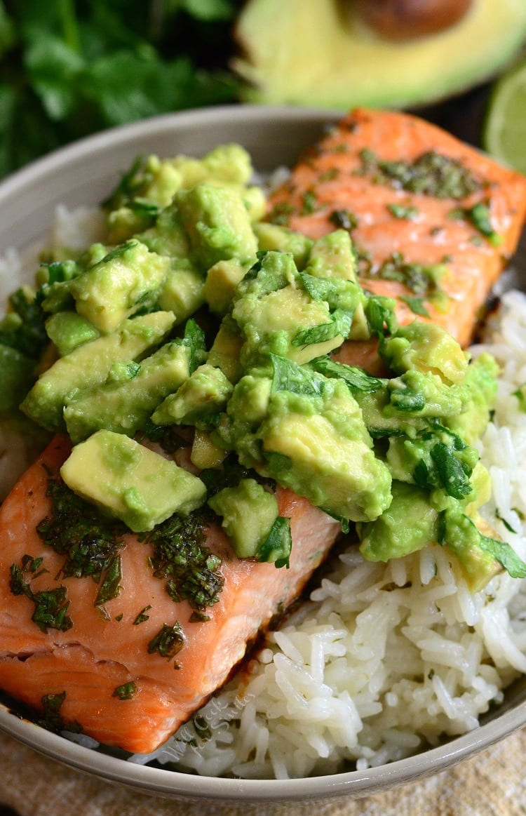 top view of Avocado Salmon Rice Bowl in a bowl