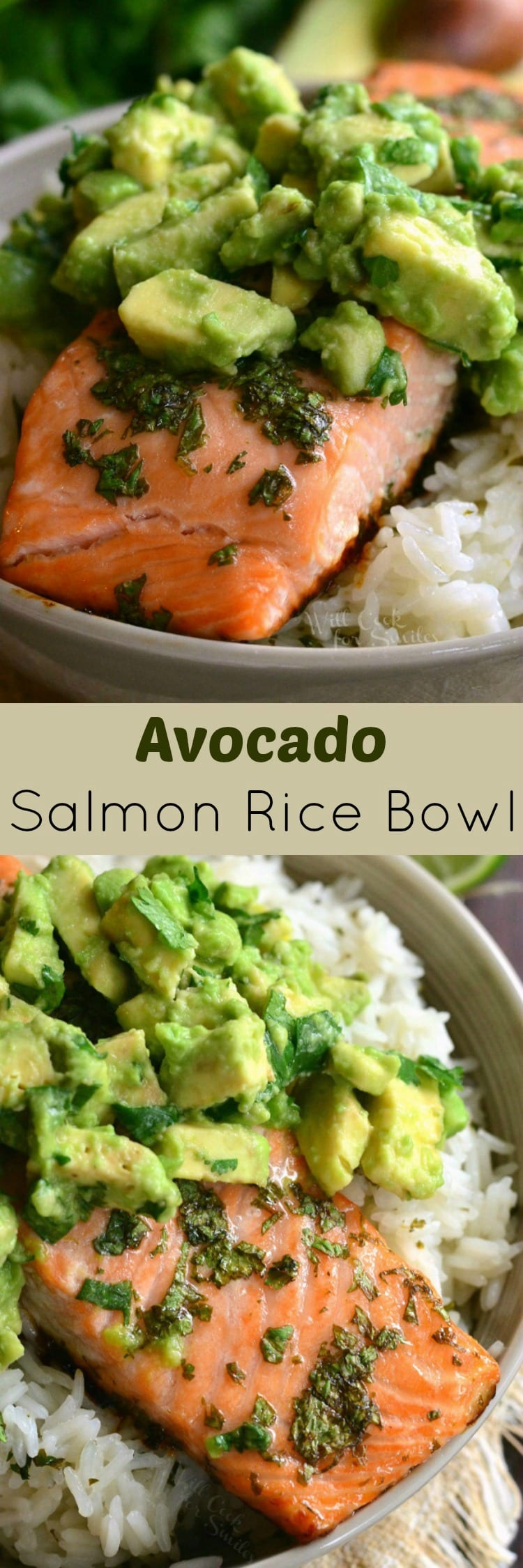 collage top photo is salmon with avocado on top with rice in a bowl and bottom is top view of salmon over rice with avocado