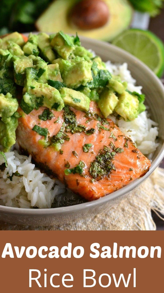 top view of Avocado Salmon Rice Bowl