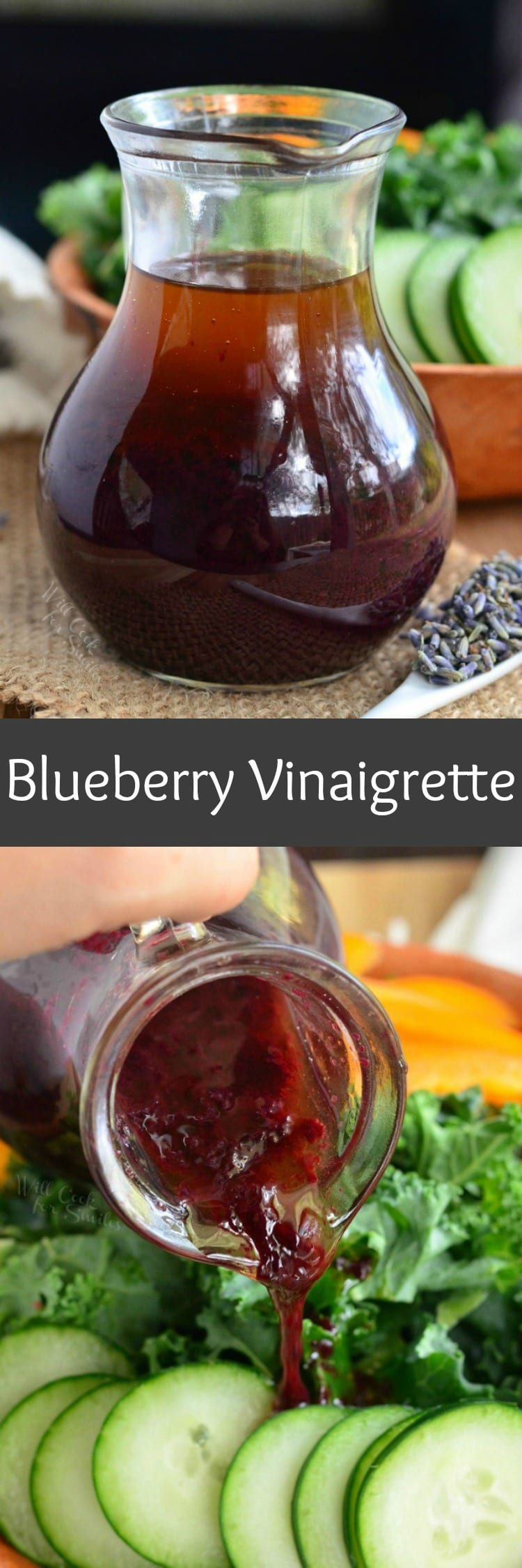 Blueberry Lavender Vinaigrette. Delicious, aromatic blueberry salad dressing with added lavender flavor to brighten even the most boring salad.