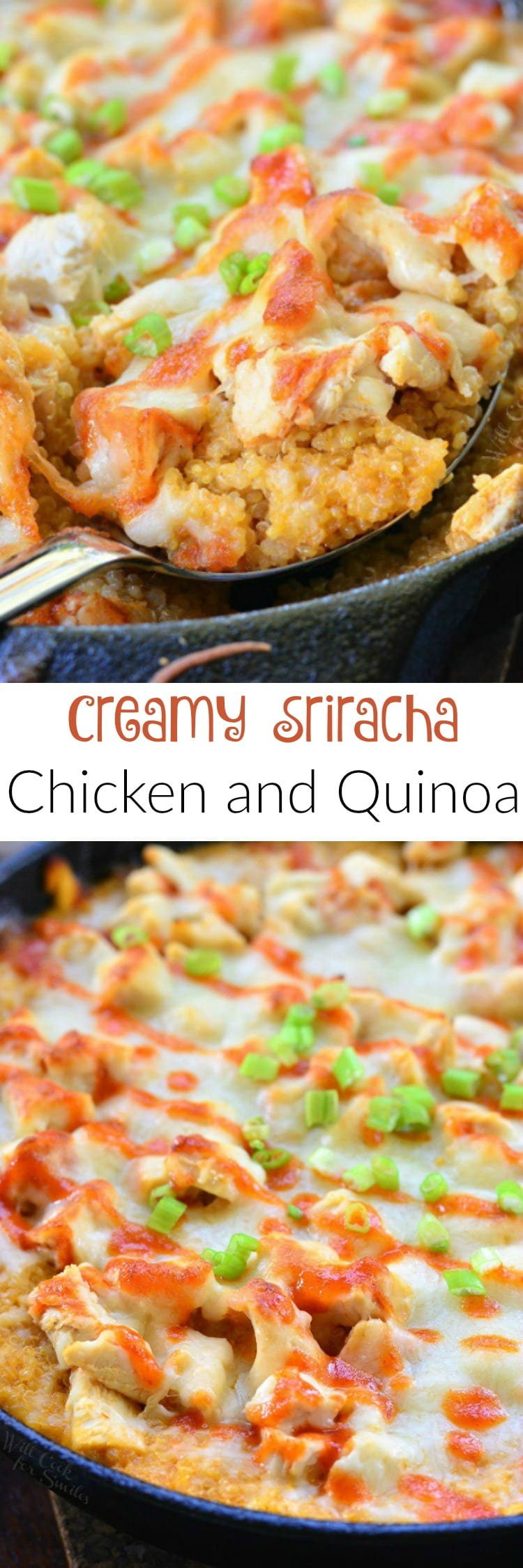 Creamy Sriracha Chicken and Quinoa Bake. Creamy, cheesy, and a bit spicy chicken and quinoa bake that will quickly become your favorite dinner.