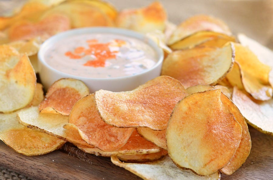 Homemade Potato Chips with Buffalo Ranch Dip 3