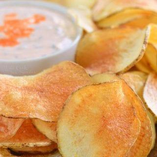 Homemade Potato Chips with Buffalo Ranch Dip