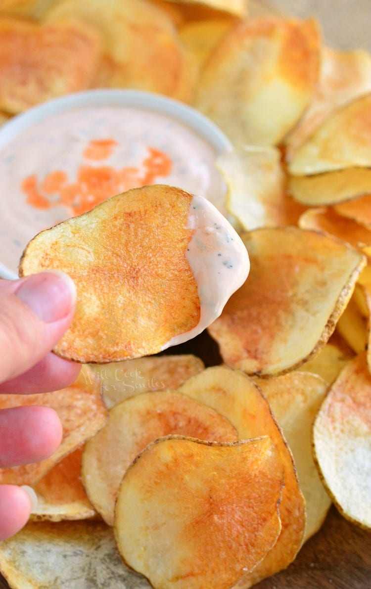 Homemade Potato Chips with Buffalo Ranch Dip. from willcookforsmiles.com