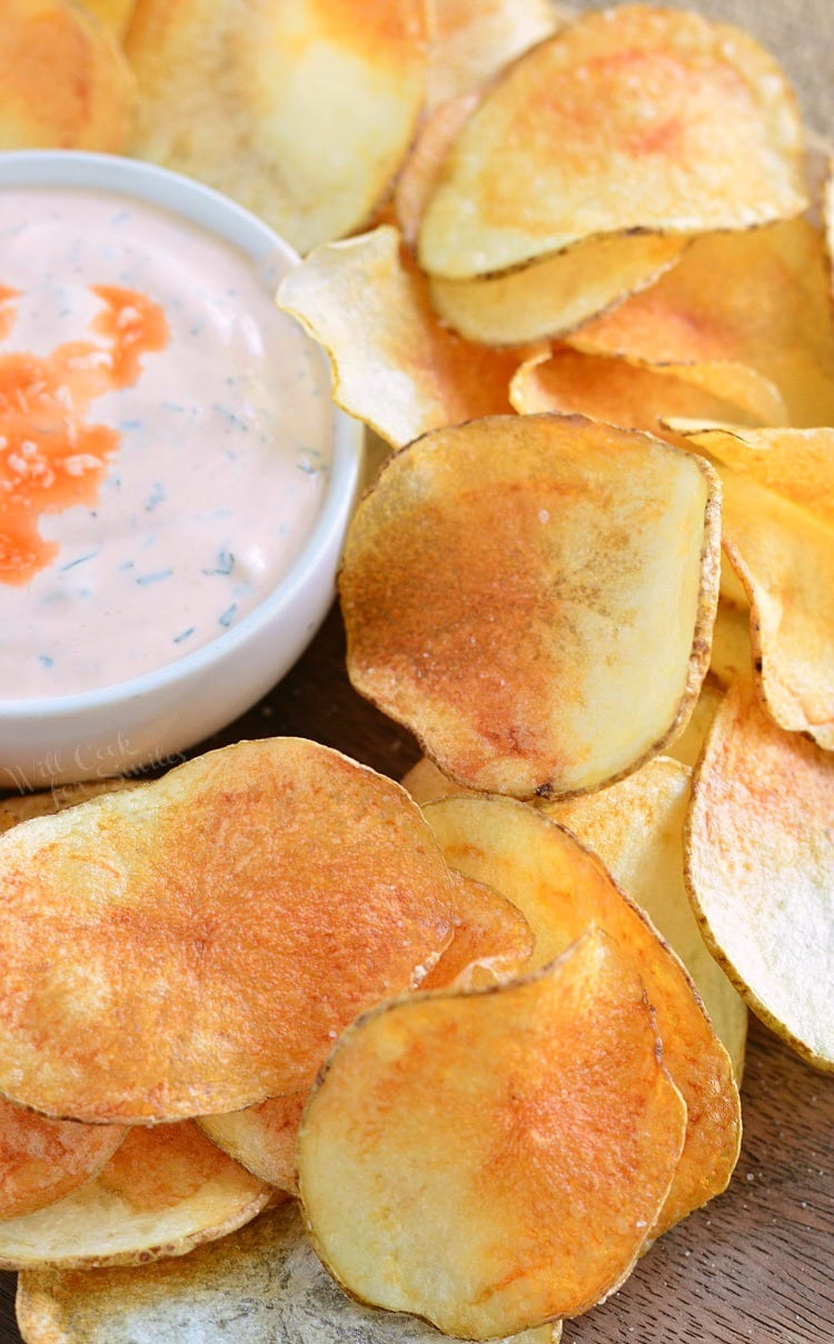Homemade Potato Chips with Buffalo Ranch Dip. These homemade potato chips are simple to make, fresh, crispy, and unbelievable delicious.
