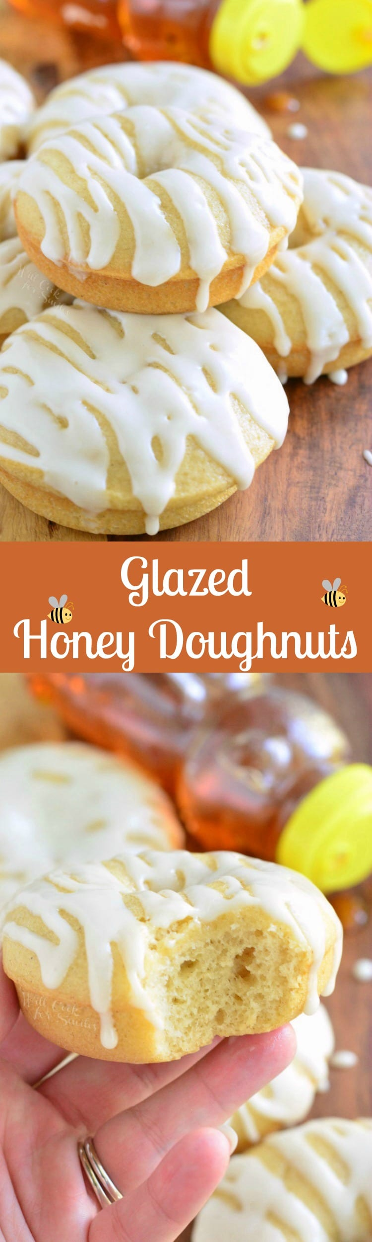 Honey Doughnuts. These honey doughnuts are baked and glazed with a creamy honey glaze.