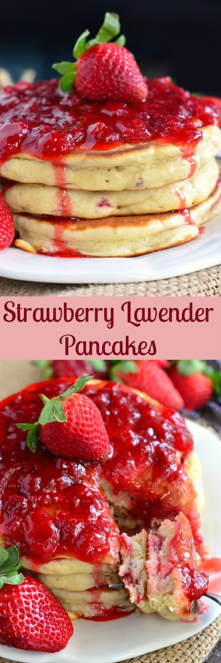 collage top photo Strawberry Lavender Pancakes with strawberries and strawberries syrup on top on a white plate with a fork bottom photo Strawberry Lavender Pancakes with strawberries and strawberries syrup on top on a white plate with a fork