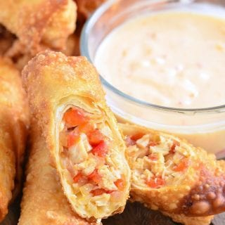 Sweet Chili Chicken Egg Rolls with Creamy Sweet Chili Sauce