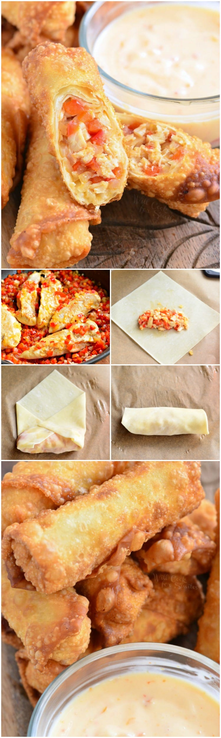 Sweet Chili Chicken Egg Rolls With Creamy Sweet Chili Sauce Will Cook For Smiles