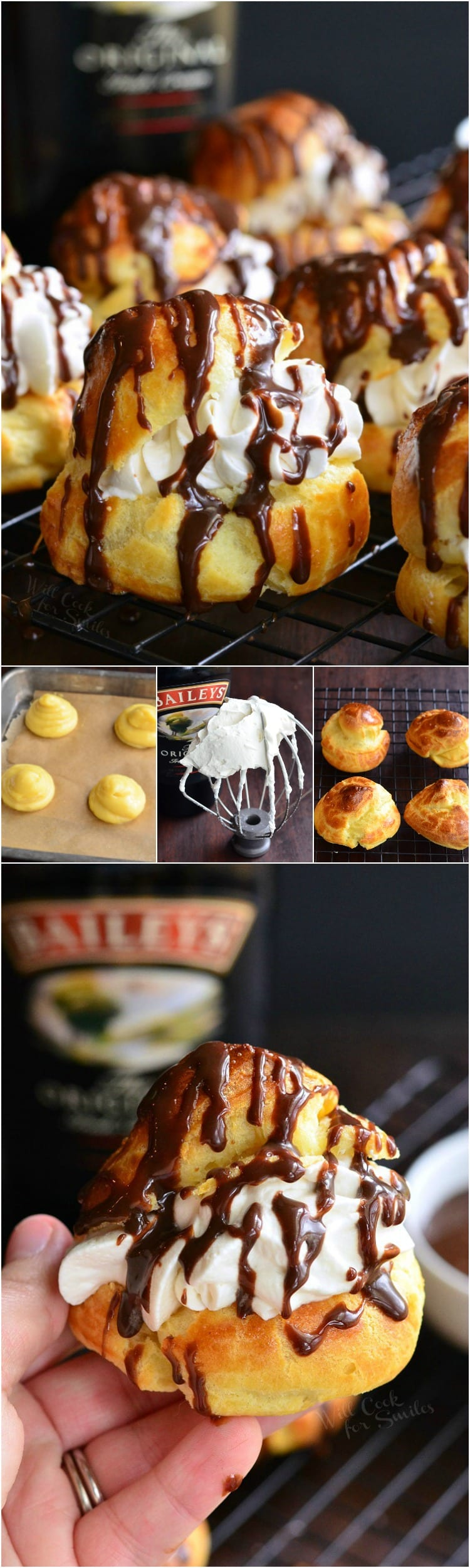 photo collage top photo Baileys Cream Puffs on a cooling rack, 2nd photo is steps to make puffs, uncooked puffs, whipped cream on a mixer beater, cooked puffs, last photo is holding a puff