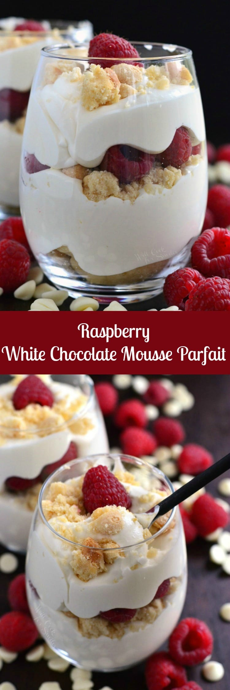 Easy Raspberry White Chocolate Mousse Parfait. This is an easy dessert for any special occasion.