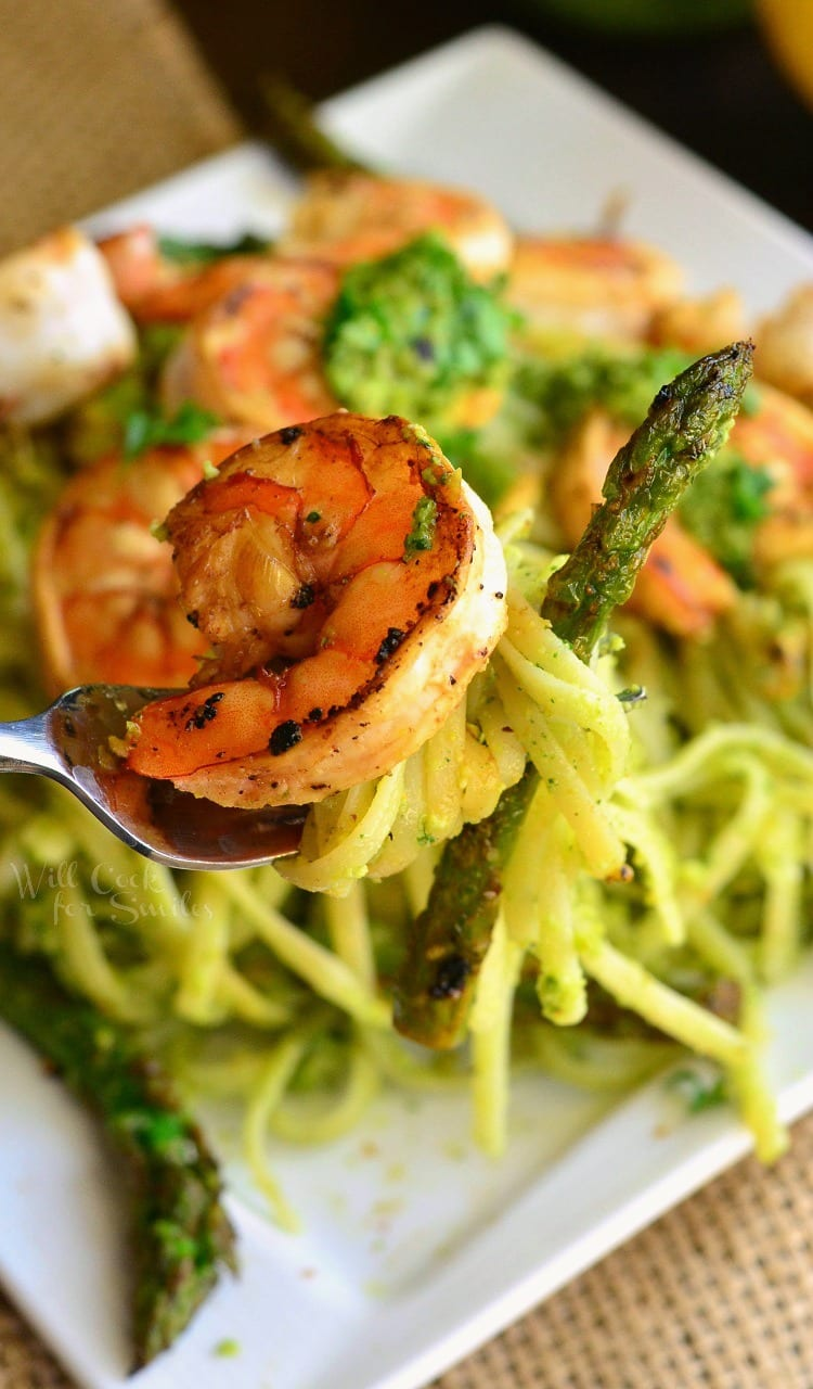 Lemon Pistachio Pesto Pasta with Shrimp and Asparagus. from willcookforsmiles.com